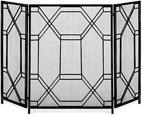 /ログウッドバーナーオープン火災/ガス火災のために仕上げメッシュ屋内大型フラットガード着用3つのパネル暖炉スクリーン暖炉ドア、錬鉄素朴な (Color : Black)