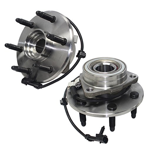 Cadillac Assembly Axle (Detroit Axle- Both Front Driver & Passenger Side Wheel Hub and Bearing Assemblies for 4x4 Models Only, [6-Lug Wheel - 3-Bolt Flange])