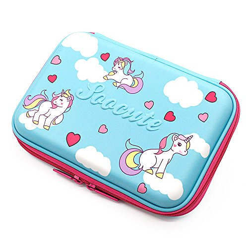 Cute Unicorn Blue Pencil Case School Girls Toddler Hardtop Pencil Pouch Pen Box With Compartment For Kids by SOOCUTE