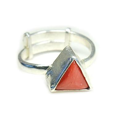 a4dd9a546528 jewelryonclick 3 ct naturales triángulo pendientes de Coral de plata  ajustable para hombres anillo UK P - tamaño T 1 2  Amazon.es  JoyerÃa