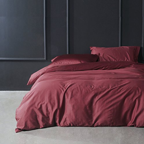Solid Color Egyptian Cotton Duvet Cover Luxury Bedding Set High Thread Count Long Staple Sateen Weave Silky Soft Breathable Pima Quality Bed Linen (Queen, Matte Raspberry) (Pillow Sham World Insert)
