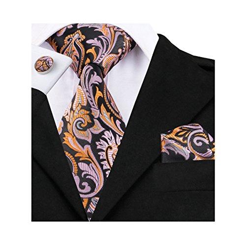 Hi-Tie New Designer Woven Silk Necktie Tie Handkerchief Cufflinks set (Orange - New Stores Square One
