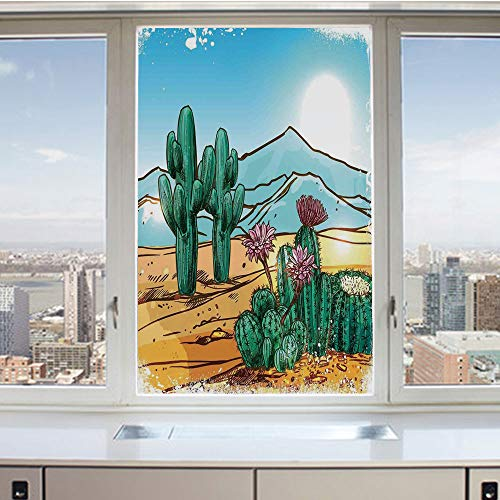 3D Decorative Privacy Window Films,Vector Image with Cartoon Design Cactus Flowers Mountains Desert Sand Sun Art,No-Glue Self Static Cling Glass film for Home Bedroom Bathroom Kitchen Office 24x36 Inc