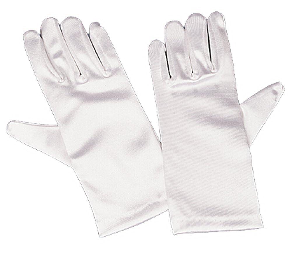 Girls White Satin Gloves Large (8-12) 3GLDA914-WHTIE-8TO12