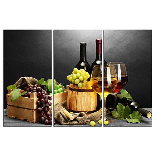 (LevvArts -3 Piece Canvas Wall Art Red Wine Grape Still Life Painting Canvas Prints Modern Kitchen Bar Wall Decor Food Artwork Stretched and Framed Ready Hang- 16x32inchx3pcs)