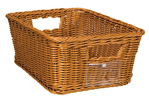 School Smart SS201205S Small Wicker Basket, Polypropylene, 5.25'' Height, 7.75'' Width, 12'' Length, Brown by School Smart