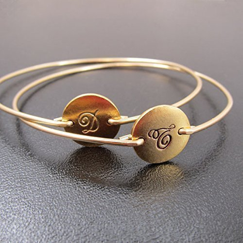 Initial Monogram Bracelets in Cursive Font (set of 2) Circle Disc Bangles Personalized Jewelry Gift