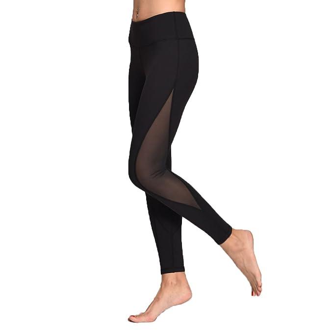 57e2311459125 Chikool Women Black Gym Capri Leggings Mesh Yoga Pants Hidden Pocket Tights Women  Workout Leggings Activewear