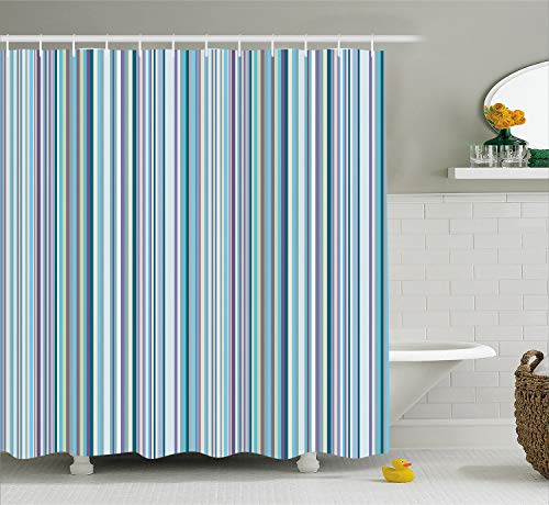Ambesonne Striped Decor Shower Curtain, Blue Purple Teal Aqua Lavender Colored Vertical Stripes Geometric Abstract Vintage, Fabric Bathroom Set with Hooks, 75 Inches Long, Light Blue ()