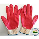 (ChulSan) (10 Pairs) Red Latex Rubber Palm Coated Work Safety Gloves made in Korea
