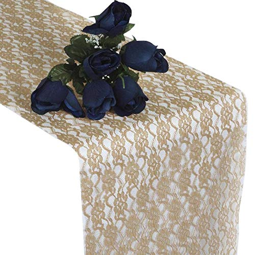 mds Pack of 25 Wedding 12 x 108 inch Lace Table Runner for Wedding Banquet Decor Table Lace Runner- Champagne Gold -