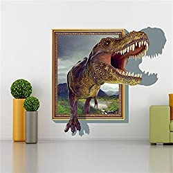 Sucis 3D para correr tiranosaurio rex único diseño con huellas de adhesivos de pared adhesivo de pared decoración del hogar