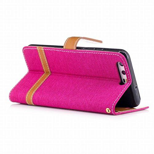 LEMORRY Huawei P10 Hülle Tasche Leder Flip Cover Case Schutzhülle Slim Bumper Schutz Magnetisch Soft Beutel Haut Weich Silikon Cover Schale Mit KRotitkarten-Slot, Denim-Stil Pink Rosa