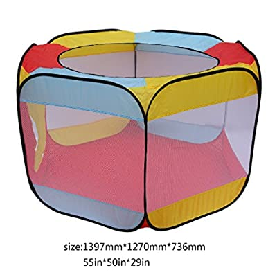 Ball Pit Play Tent for Kids, 55''x50''x29'' Hexagon Mesh Ball Pit 6-sided Ball Pit for Kids Toddlers and Baby Toddler Playpen Indoor Outdoor Twist Pool Kids Popup Play Tent (Balls Not Included): Toys & Games