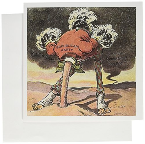 "Price comparison product image 3dRose Republican Party Ostrich with Head in The Sand - Greeting Cards, 6 x 6"", Set of 6 (gc_61679_1)"