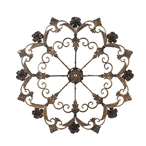Home'Art Decorative Bronze-Color Romantic Iron Wall Hanging Decor, Round Flower Starburst Design