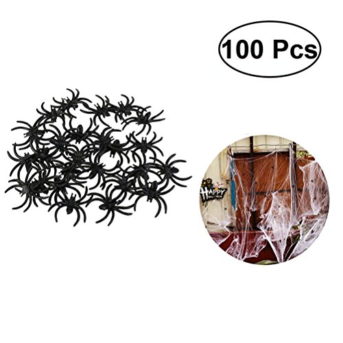 JANOU Mini Fake Spider Plastic Realistic Black Spider Jokes Prank Props for Halloween Party Suppliers Pack -