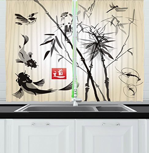 Ambesonne Kitchen Decor Collection, Japanese Traditional Art Garden Zen Wildlife Forest Design Meditation Fish Origami Home, Window Treatments for Kitchen Curtains 2 Panels, 55X39 Inches, White Black