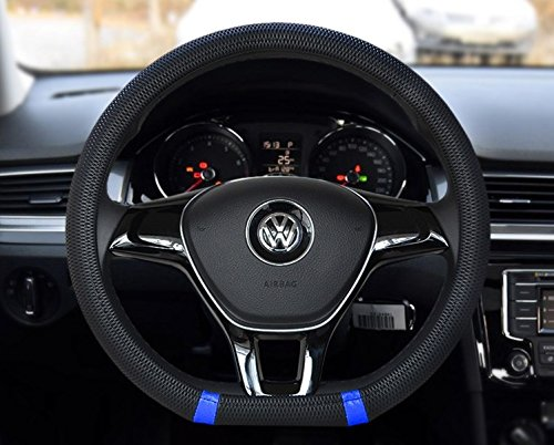 Black and Blue Color New D shape steering wheel cover breathable automotive car sport steering-wheel covers for VW Volkswagen Santana 2016/ Jetta 2017