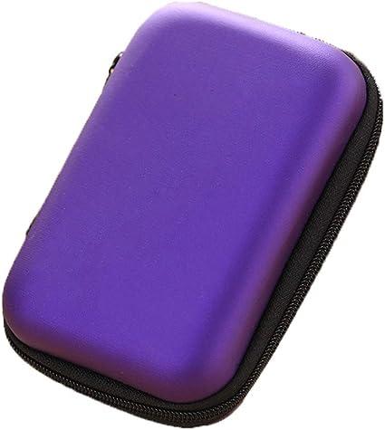 Pequeño organizador de accesorios electrónicos estuche de transporte duro EVA portátil Kit de cargador de viaje bolsa de almacenamiento para cargador/USB/tarjeta SD/auriculares, color morado: Amazon.es: Oficina y papelería