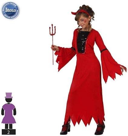 Atosa-10576 Disfraz Demonio para Niña Infantil, color rojo, 10 A ...