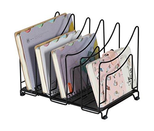 EasyPAG Desktop Vertical File Organizer Holder 5 Uprights Mail Sorter,Black