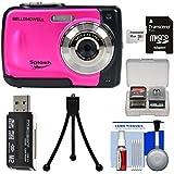 Bell & Howell Splash WP10 Shock & Waterproof Digital Camera (Pink) 16GB Card + Tripod + Reader + Kit