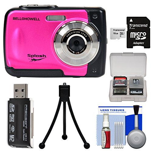 Bell & Howell Splash WP10 Shock & Waterproof Digital Camera (Pink) with 16GB Card + Tripod + Reader + Kit by Bell + Howell