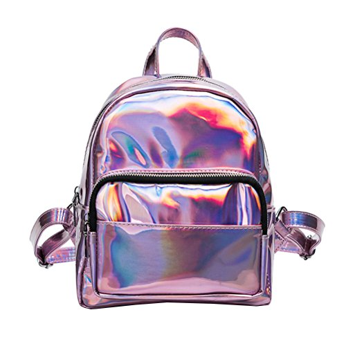 LUOEM Girl's Laser Hologram Backpack Casual Satchel Mini Hologram School Bag Shoulder Bag for Travel (Pink)