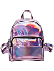 LUOEM Girls Laser Hologram Backpack Casual Satchel Mini Hologram School Bag Shoulder Bag for Travel (Pink)