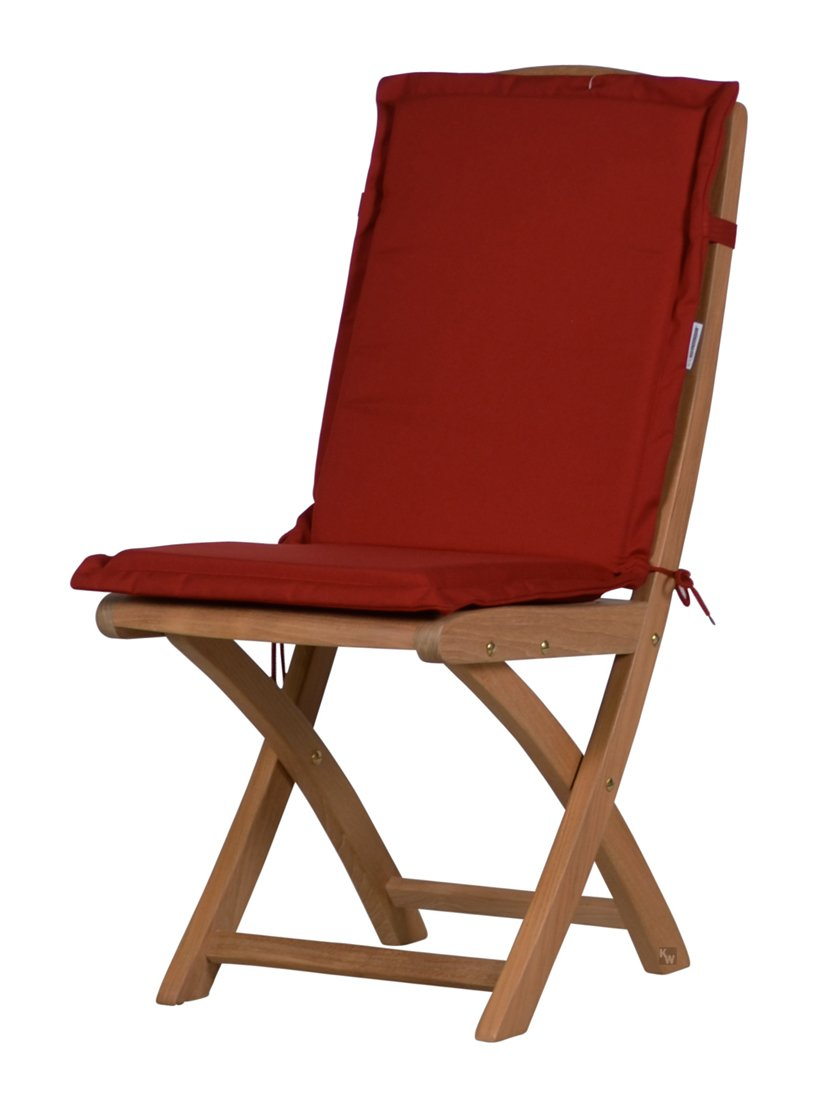 8 x Bordeauxrote Sitzauflage für Garten-Stühle & Klappstühle, 88 x 40 cm | Premium Polster-Auflage aus lichtechtem Dralon ✓ Maschinen-waschbares Stuhl-Kissen für Gartenmöbel ✓ Höchster Sitzkomfort als Sitzkissen für Niedriglehner