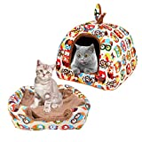 laamei 2-in1 Pet Dog Cat Bed Tent House Foldable Owl Print Self-Warming Cushion Basket Triangle Bed Tents Medium Multicolor 161615 Inches