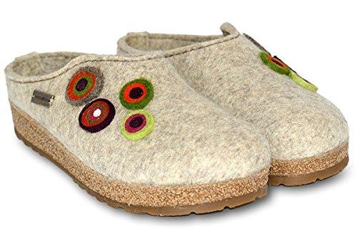 Haflinger 731023 Slippers Grizzly Kanon, beigemeliert öko, Gr 46