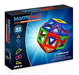 Kinslent 30 Pcs Construction Building Blocks Toys, BPA Free, Magnetic Max Stem Educational Game - 3D Concept Preschool Learning Set