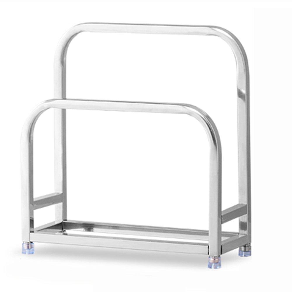 HPLL Storage Racks 304 Stainless Steel Rack Chopping Block Kitchen Supplies Cutting Board Thick Pot Lid Storage Rack (Size : 22228CM)
