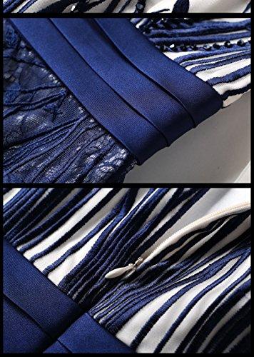 Robes Longues Cotylédons De Women`s Soir À Encolure Dégagée À Manches 3/4 Haut Robes Taille Bleu