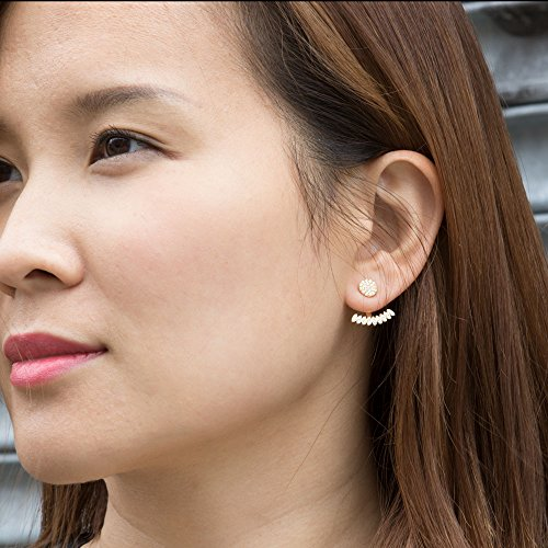 Platinum Plated 925 Sterling Silver Round Cubic Zirconia Round Disc Stud And Curved Bar Earring Jackets by Joy and Rachel (Image #1)