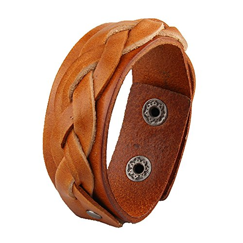 Jenia Leather Braided Bracelet Women Wrap Bracelets Adjustable Wristband Rope Cuff Bangles Unisex Handmade Jewelry for Kids, Boys, Girls, Mens