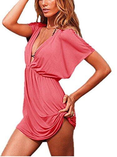 De las mujeres Señoras Hermosa Cuello profundo en V Abierto Playa Bikini Cubrir Vestir Verano Nadar Elástico Hielo Seda Trajes de baño Traje de baño Falda Exterior Blusa Sandía roja