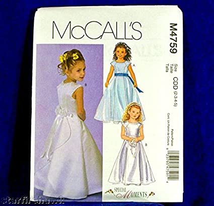 Mccalls 4759 Special Moments, Flower Girl Dress Gown Sz2-3-4-5