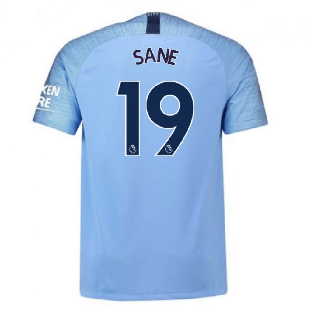 2018-2019 Man City Home Nike Football Soccer T-Shirt Trikot (Leroy Sane 19) - Kids