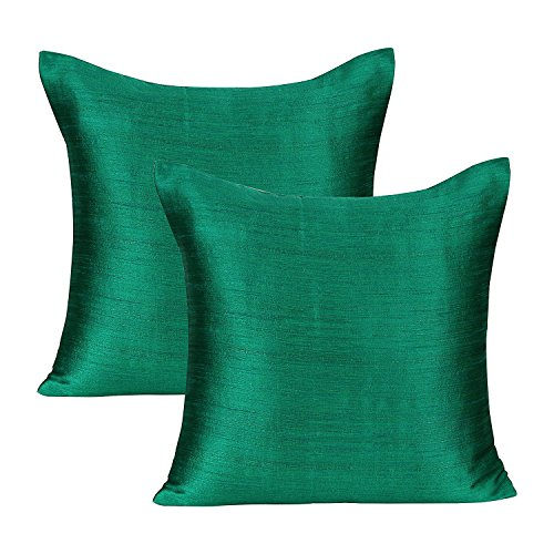 The White Petals Emerald Green Green Decorative Pillows (Set of 2 Covers, Faux Raw Silk, Emerald Green Green, 20x20 inches)