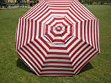 7FT. WATERPROOF 97% UVA PROTECTION BEACH UMBRELLA WITH CARRY CASE - RED STRIPED