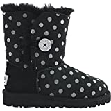 UGG Kids Girl's Bailey Button Polka Dot (Little Kid/Big Kid) Black Boot 3 Little Kid M