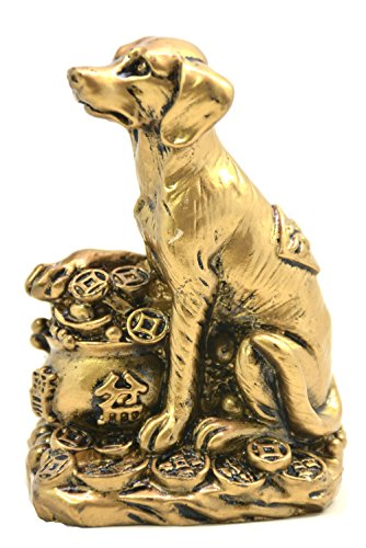 2018 Chinese year of dog Horoscope Chinese Zodiac Handmade Golden Resin Dog With Money Bag Collectible statue Figurine Sculpture