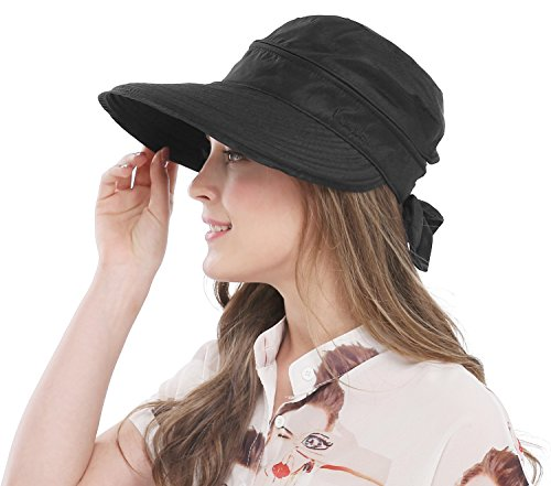 Outdoor Cap Cotton Visor (Bellady Women's Visor Hats UV Protection Summer Sun Hats Wide Brim Cap, Black)