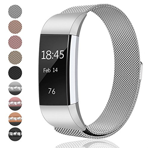 hooroor Fitbit Charge 2 Bands Small & Large for Women Men Girls, Milanese Loop Stainless Steel Metal Bracelet Strap with Unique Magnet Lock, No Buckle Needed for Fitbit Charge 2 (Silver, Small) Metal Sportswear