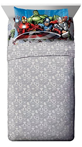Marvel Avengers Classic Halo, Hulk, Ironman, Captain America, Thor, 3 Piece Sheet Set, Twin