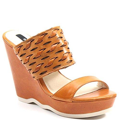 (Bronx Get Smart Leather Wedge Sandal (36, Caramel) )