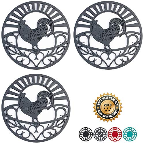 (Silicone Trivet Set For Hot Dishes | Modern Kitchen Hot Pads For Pots & Pans | Country Rooster Design (Symbol of Prosperity & Good Luck) Mimics Cast Iron Trivets | 7.5